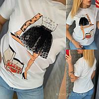 Женская футболка со стразами / Турция 35-1540, фото 1