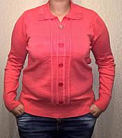 Батальная женская кофточка с воротничком