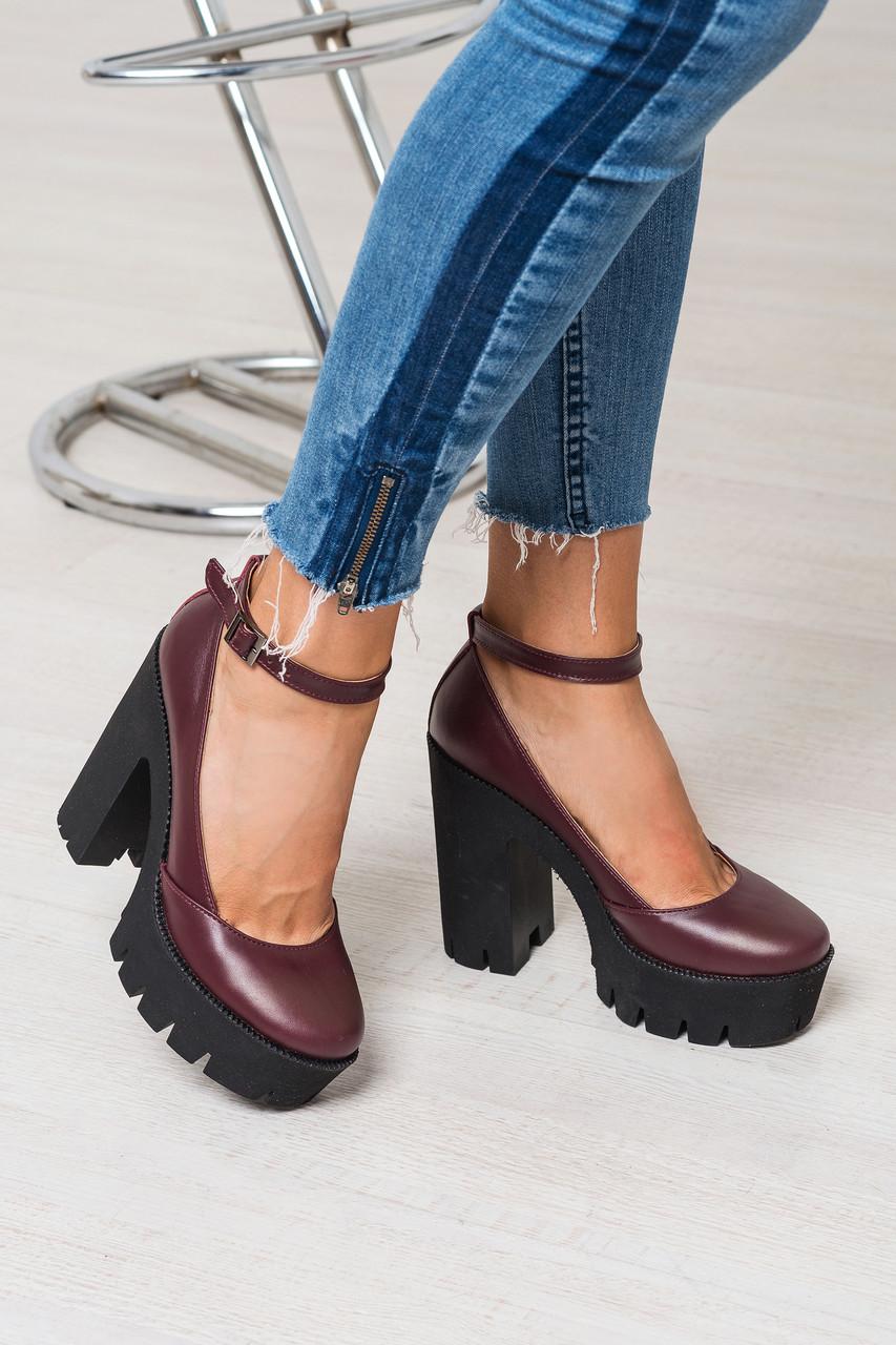 Женские туфли из натуральной кожи бордового цвета на удобном толстом каблуке MARY JANE MARSALA SUEDE