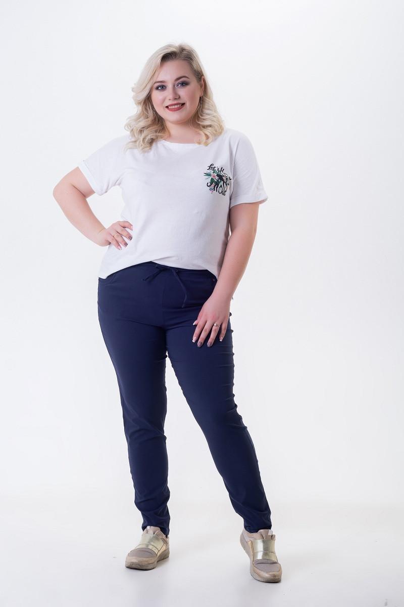 Летние брюки женские из легкого стрейч-коттона Шнурок темно-синий (52-60)