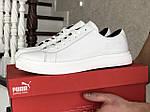 Мужские кожаные кроссовки Puma (белые) 9231, фото 3