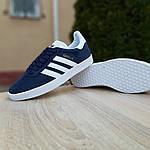 Женские кроссовки Adidas Gazelle (сине-белые) 20063, фото 2