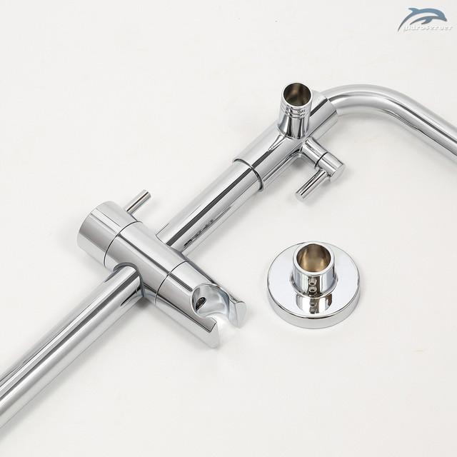 Телескопическая душевая штанга для душевой системы WEMI SWT-01 укомплектована передвижным держателем для лейки ручного душа.