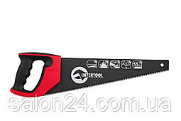 """Ножовка по дереву Intertool - 450 мм, тройная заточка 7T х 1"""" с тефлоновым покрытием"""