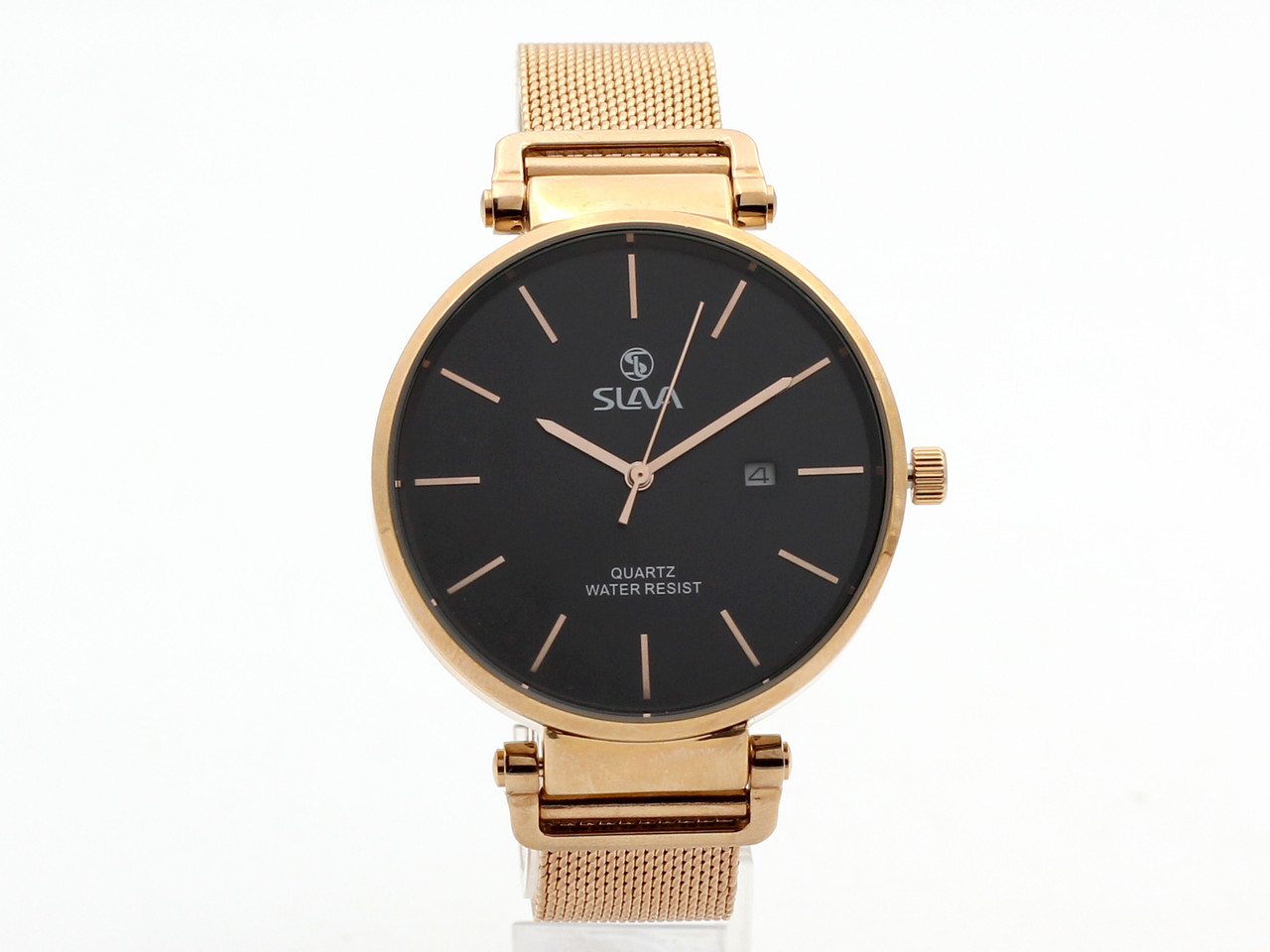 Годинники кварцові Slava, унісекс, чорний циферблат, металевий браслет і корпус золотисті (здійснює 14670)