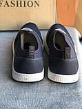 Синие мужские мокасины, кроссовки без шнурков, фото 3