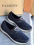 Синие мужские мокасины, кроссовки без шнурков, фото 2