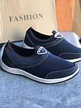 Синие мужские мокасины, кроссовки без шнурков, фото 6