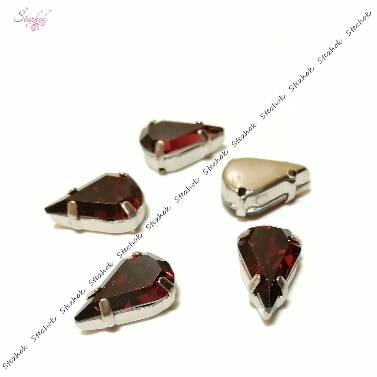 Стеклянные стразы пришивные 13х8 мм в металлической оправе платина для рукоделия цвет страз бордовый
