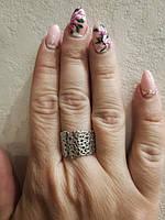 Серебряное стильное широкое кольцо Сердца