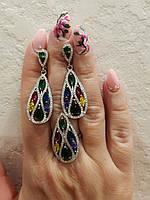 Серебряный набор украшений кольцо и серьги Цветная Роса с зеленым, желтым, красным, синим цирконием
