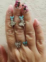 Серебряный набор Бабочки бирюза с эмалью