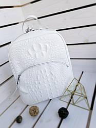 Шкіряний жіночий рюкзак розміром 35х29х12 см Білий (01118)