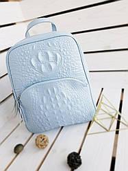 Шкіряний жіночий рюкзак розміром 35х29х12 см Блакитний (01119)