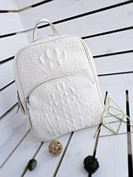 Шкіряний жіночий рюкзак розміром 35х29х12 см Бежевий (01120)