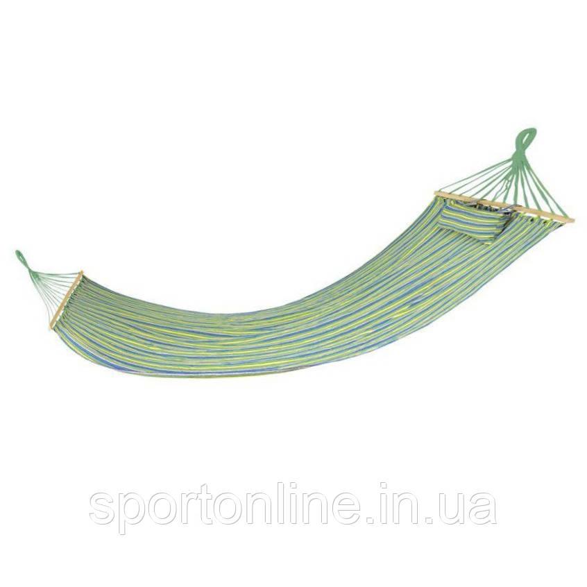 Гамак Spokey Bigrest 120х200 см, хлопок с деревом, сине-зеленая полоска