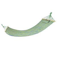 Гамак Spokey Bigrest 120х200 см, хлопок с деревом, сине-зеленая полоска, фото 1