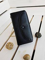Шкіряний жіночий гаманець розміром 20х10х3.5 см Чорний