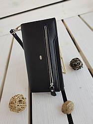 Кожаный женский кошелек размером 19.5x10.5x3 см Черный