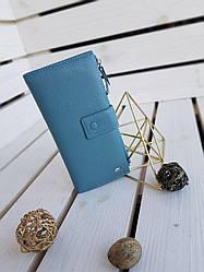 Шкіряний жіночий гаманець Dr.Bond розміром 19x9.5x3 см Блакитний