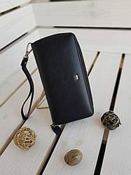 Кожаный женский кошелек размером 19x9.5x3 см Черный
