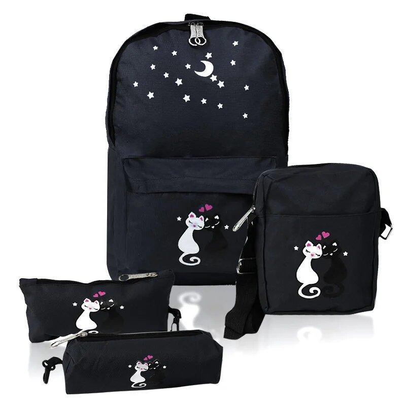Городской рюкзак для девочек 4 предмета котики Черный