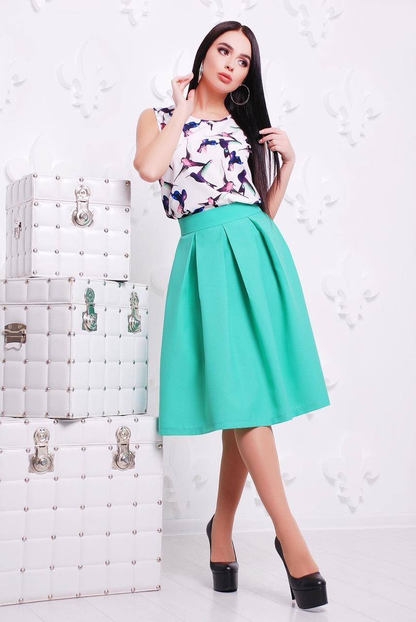 Красивая пышная юбка-колокольчик миди со складками цвет мята