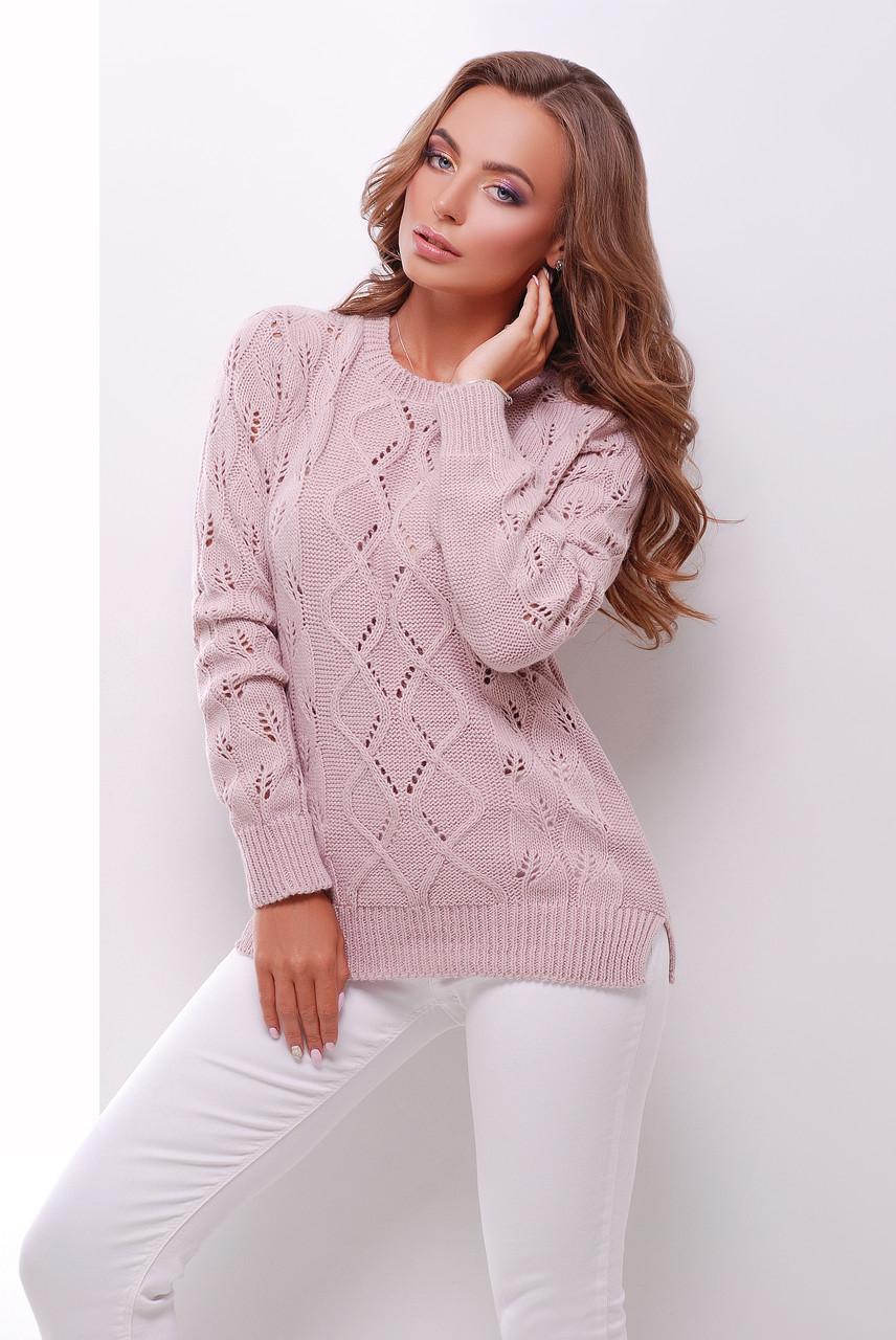 Однотонный стильный ажурный вязаный свитер в дырочку с круглым вырезом цвет пудра
