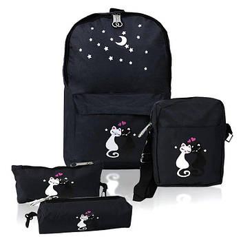 Міський рюкзак для дівчаток 4 предмета котики Чорний