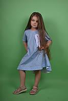Дизайнерское летнее голубое платье в горошек для девочки от ANDRE TAN. Размеры: 104, 116, 128,122, 140, 152