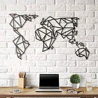 Объемная картина из дерева (Карта Мира) Map Earth 100*60 см