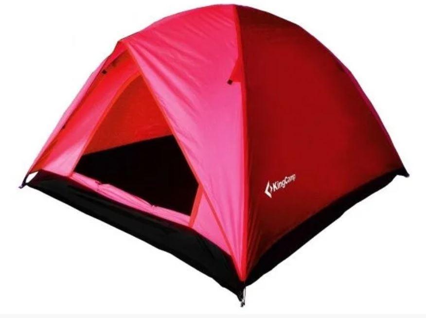 Палатка трехместная KingCamp Family 3 KT3073, красная