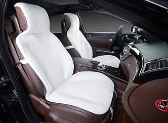 Меховые накидки передние белые Накидка на сиденье, шерсть premium, прорезиненная подкладка