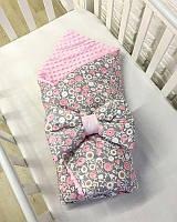 Детский утепленный конверт на выписку из роддома для девочки с розовым плюшем