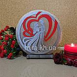 Соляной светильник круглый Пара в сердце цветная, фото 2
