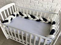 Защита в кроватку, бортик коса белый+темно-синий