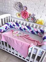 Бортик косичка в детскую кроватку из 4 плетений, белая,розовая,сиреневая,мятная