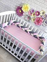 Бортик косичка в кроватку для девочки