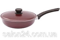 Сковорода алюмінієва Біол - 200 х 40 мм бордо, з кришкою