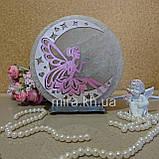 Соляной светильник круглый Фея на луне цветная 49, фото 2