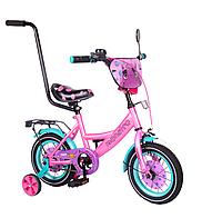 """Детский двухколесный велосипед 12"""" от 2лет, TILLY Monstro  с родительской ручкой"""