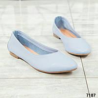 Элитная коллекция! Белые и голубые кожаные балетки, фото 1