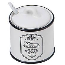 Сахарница керамическая Maestro Paris Maison с ложкой 90 мм Белый (MR-20030-09)