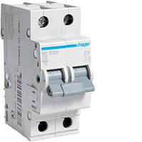 Автоматический выключатель 2P 6kA C-2A 2M Hager, фото 1