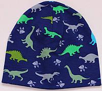 Шапочка двухслойная с динозавриками, размеры 0-5 лет