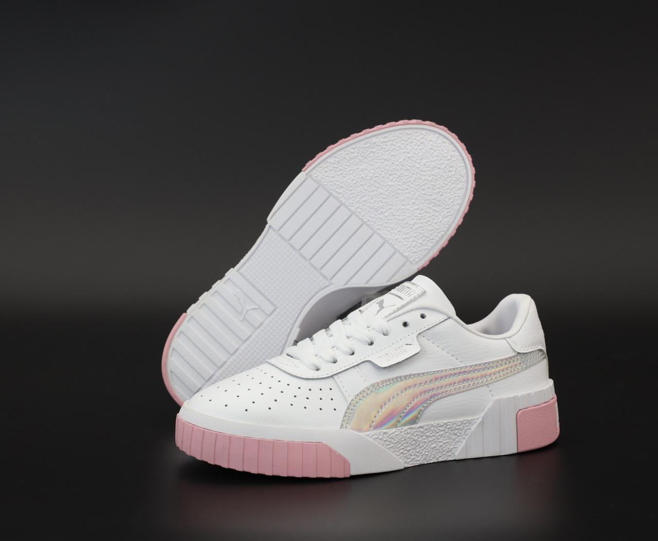 Женские кроссовки Puma Cali. White Pink. ТОП реплика ААА класса.