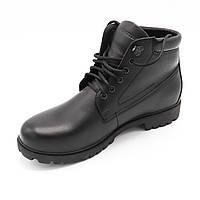 Мужские ботинки зимние повседневные кожа (Черный цвет) стоковая зимняя обувь Распродажа.