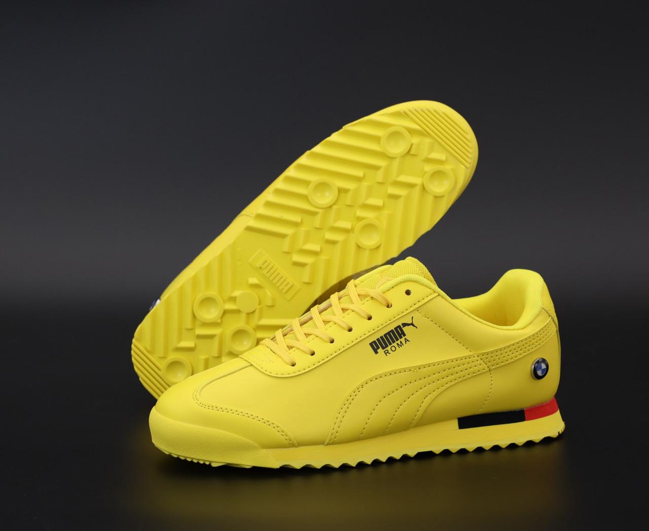 Мужские кроссовки Puma Roma BMW. Yellow. ТОП Реплика ААА класса.