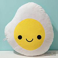 Большая мягкая игрушка подушка Strekoza Яичница 55см белый, фото 1