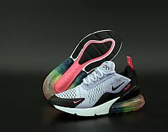 Женские кроссовки Найк Nike Air Max 270 Grey/Black . ТОП Реплика ААА класса.